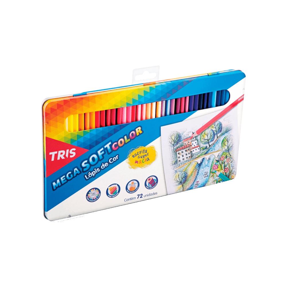 Kit Lapis de Cor Megasoft 72 Cores Box Metal + Caneta Hidrocor Waves 12 Cores Tris
