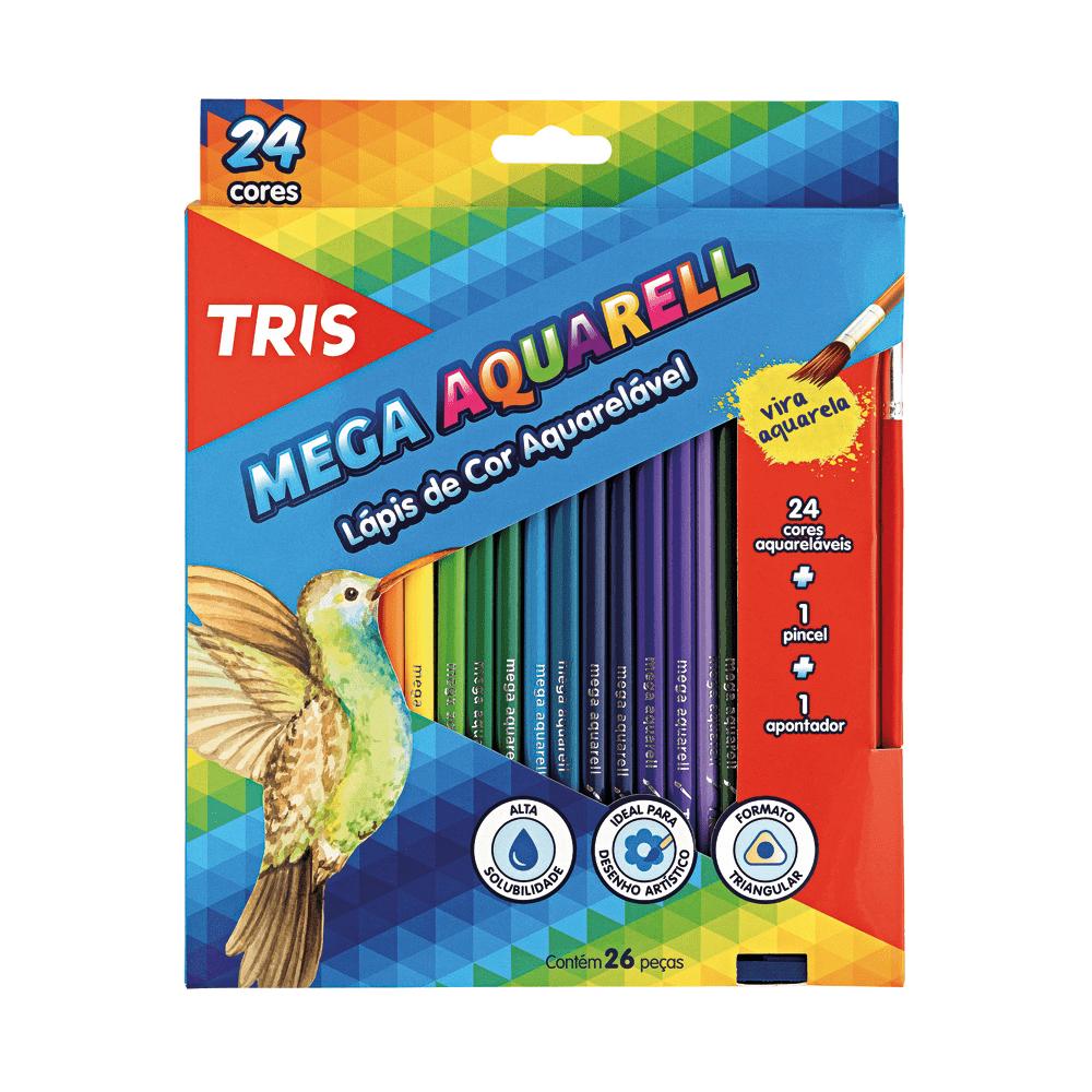 Lápis de Cor Aquarelável 24 Cores + Apontador + Pincel Mega Aquarell Tris