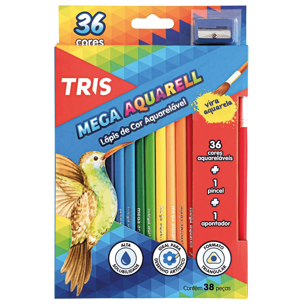 Lápis Cor Aquarelável 36 Cores + Apontador + Pincel Mega Aquarell Tris