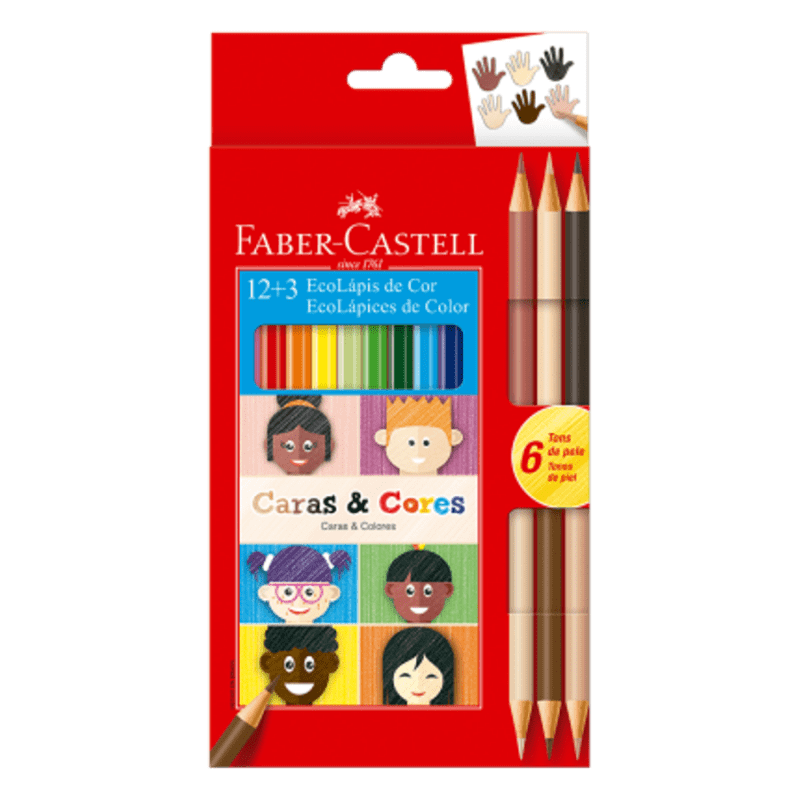 Kit Lápis de Cor 12 Cores + 6 Cores Tons de Pele Caras E Cores Faber Castell
