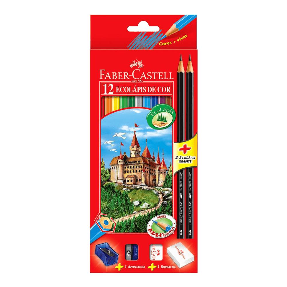 Kit Lápis de Cor 12 Cores Ecolápis + 2 Ecolápis Grafite + Apontador + Borracha Faber Castell