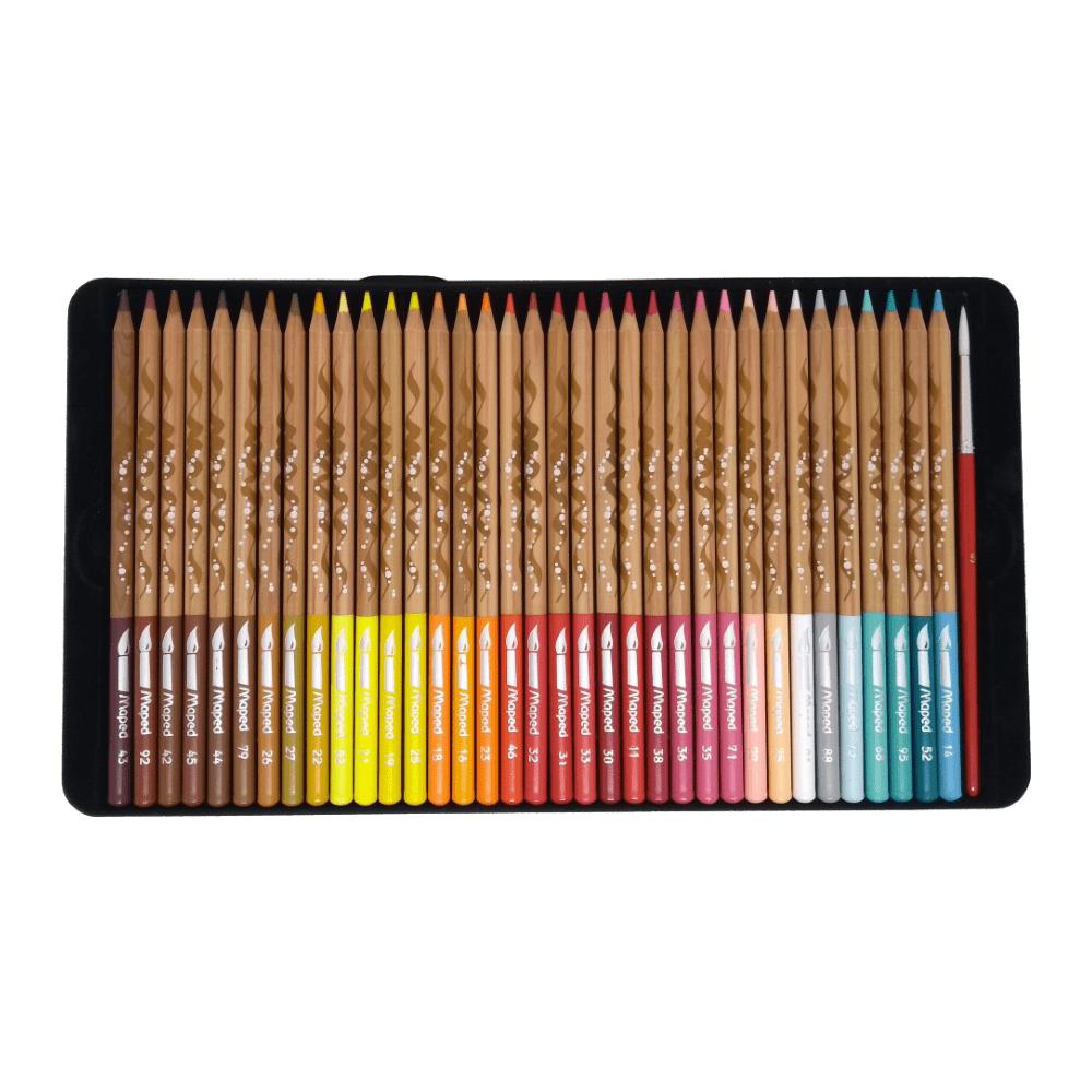 Lápis de Cor Artístico Aquarelável 72 Cores Estojo Metálico Maped