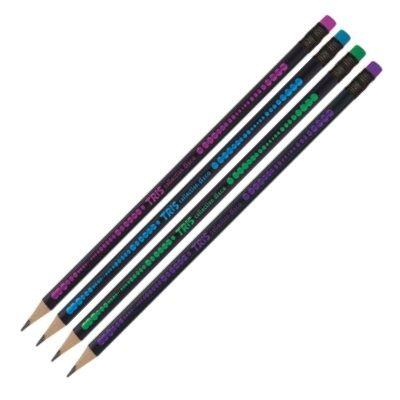Lápis Grafite HB com Borracha Collection Disco Blister 4 unidades Tris