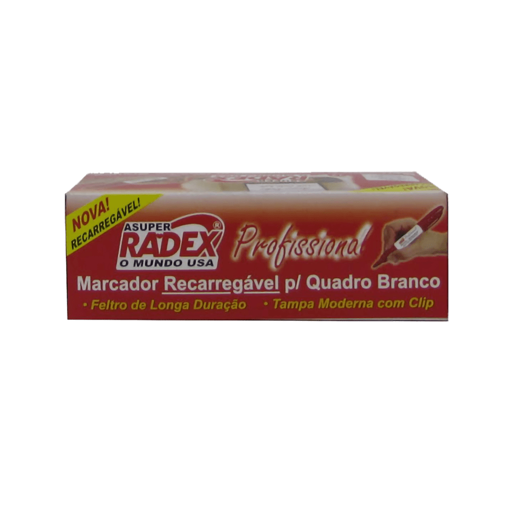 Marcador para Quadro Branco Recarregável Profissional Vermelho 12 Unidades Radex