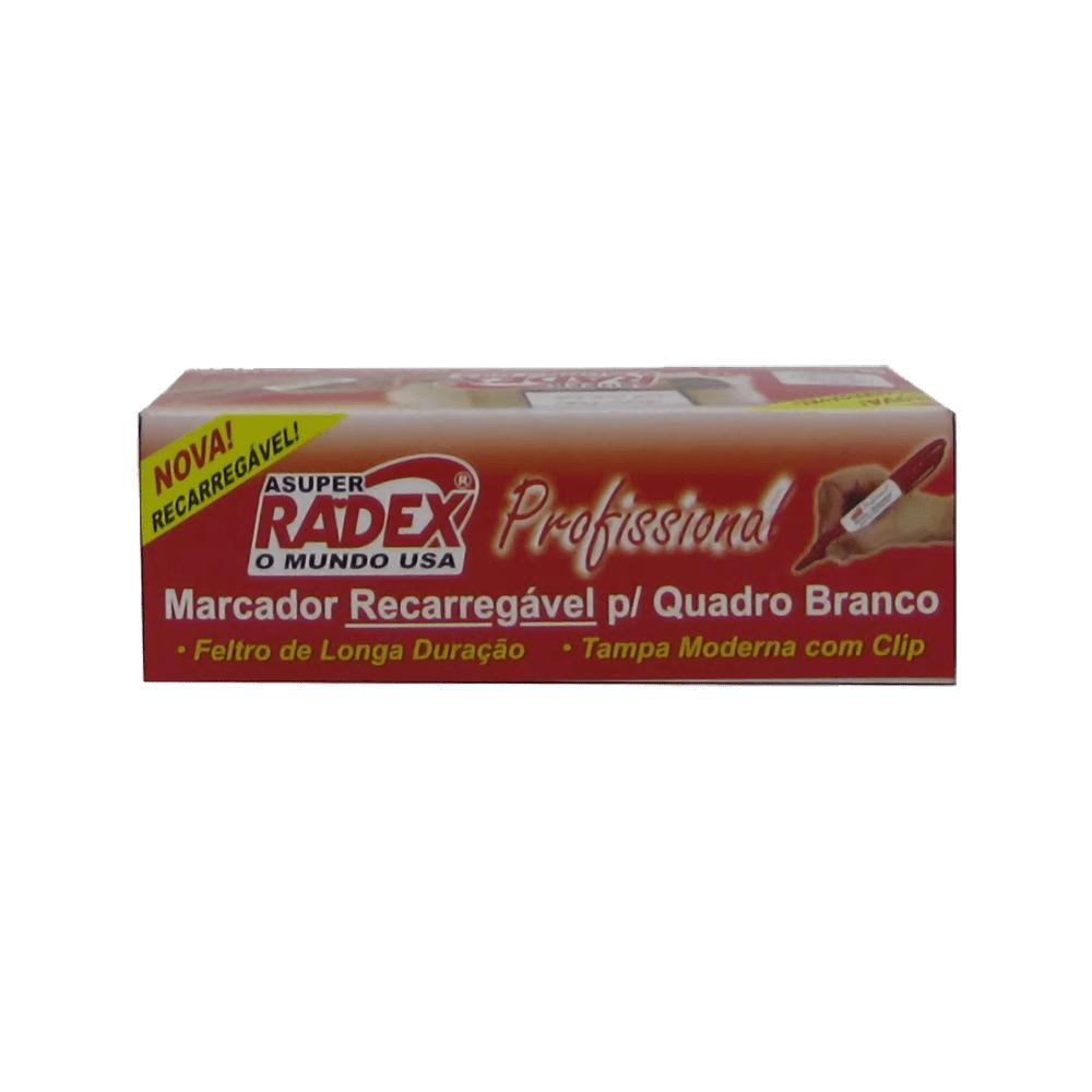 Marcador para Quadro Branco Recarregável Profissional Vermelho Radex