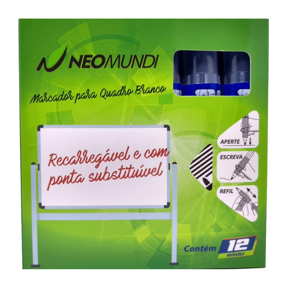 Marcador para Quadro Branco Recarregável Azul 12 Unidades NeoMundi