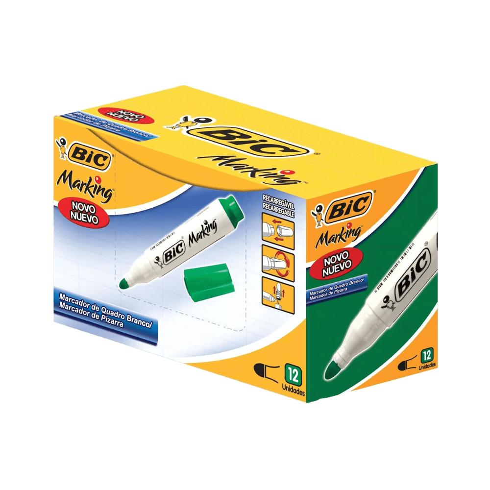 Marcador para Quadro Branco Recarregável Verde 12 Unidades Bic Marking