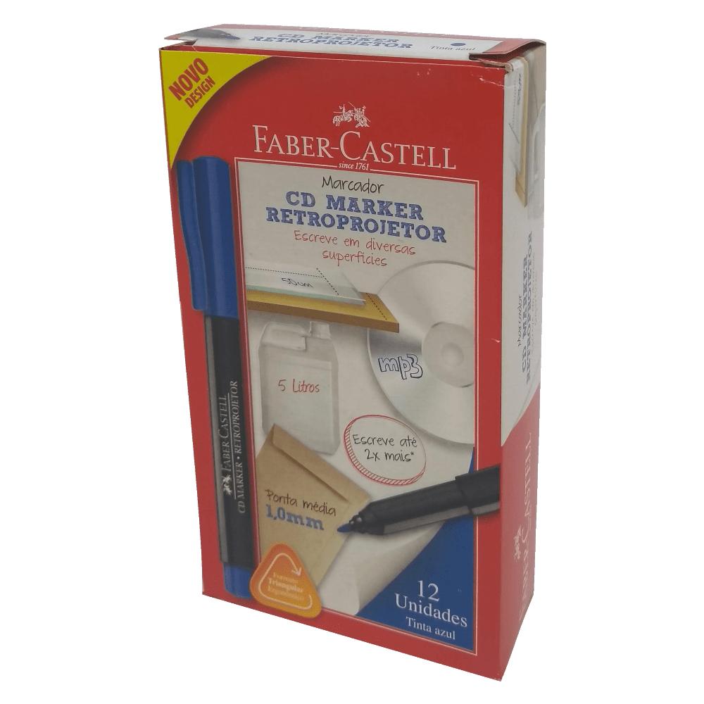 Marcador para Retroprojetor 1.0mm Azul 12 Unidades Faber Castell