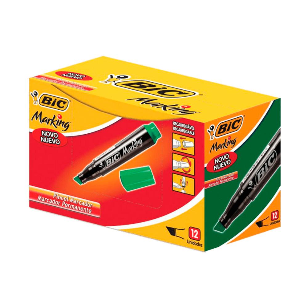 Marcador Permanente Recarregável Verde 12 Unidades Bic Marking
