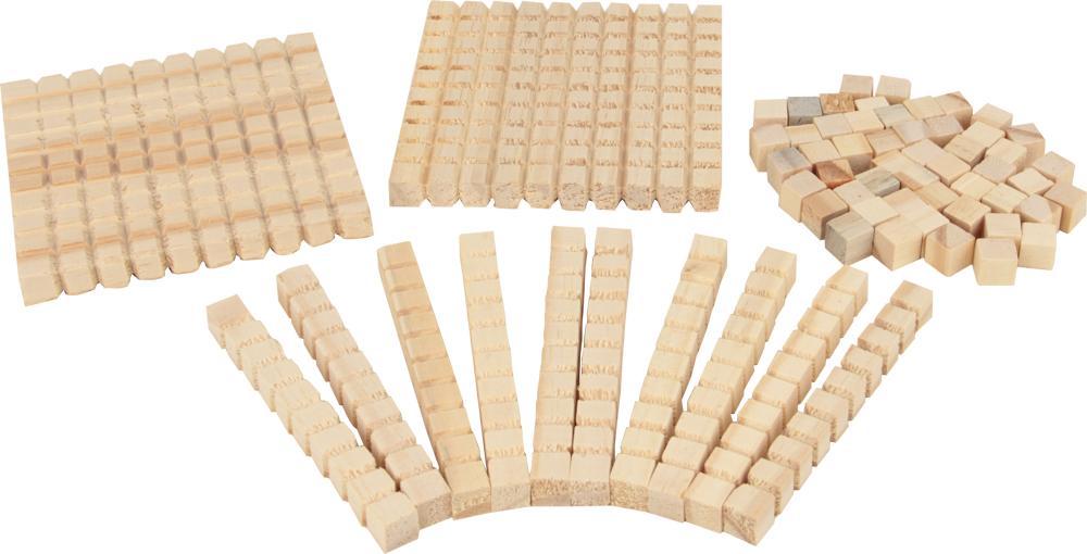 Material Dourado Individual de Madeira 111 peças Cubos Educativos