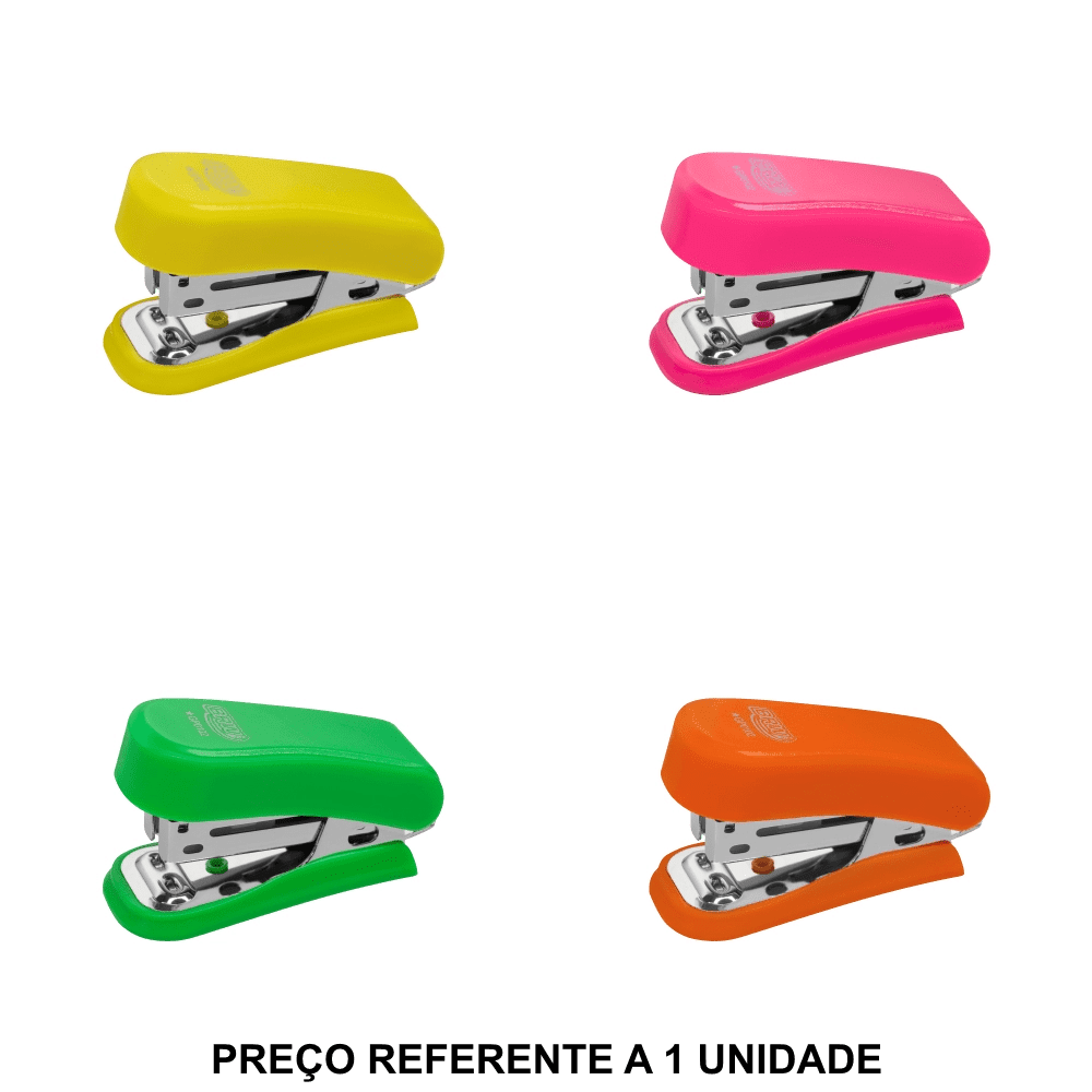 Mini Grampeador Neon para 20 Folhas BRW