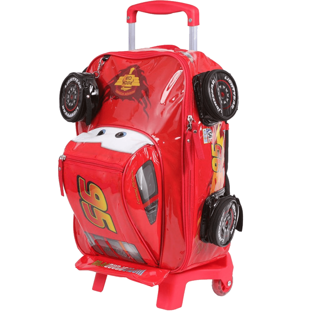 Mochila Escolar McQueen Carros 3D com Rodas Dermiwil