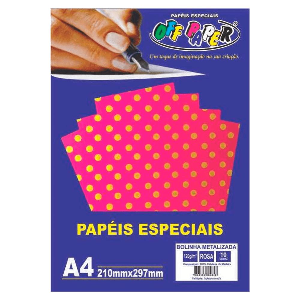 Papel Bolinha Metalizado A4 Rosa 120g 10 Folhas Off Paper