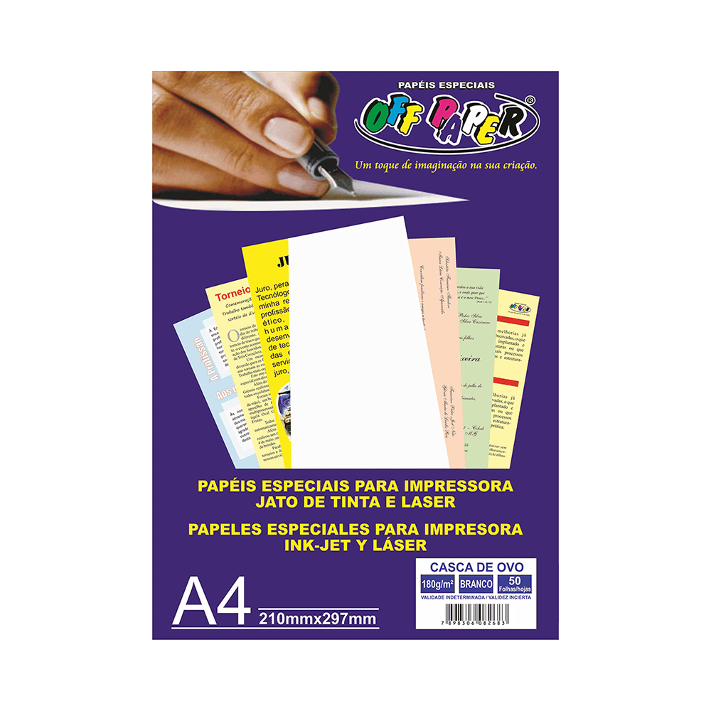 Papel Casca de Ovo A4 Branco 180g 50 Folhas Off Paper