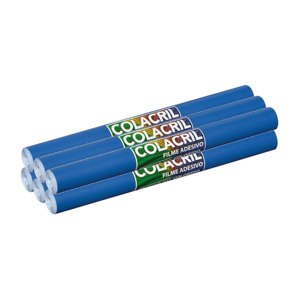 Papel Contact Azul Escuro 45cm x 10m 6 Unidades Colacril