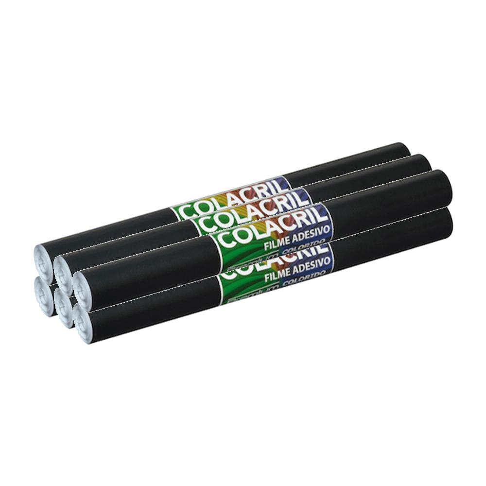 Papel Contact Preto 45cm x 10m 6 Unidades Colacril