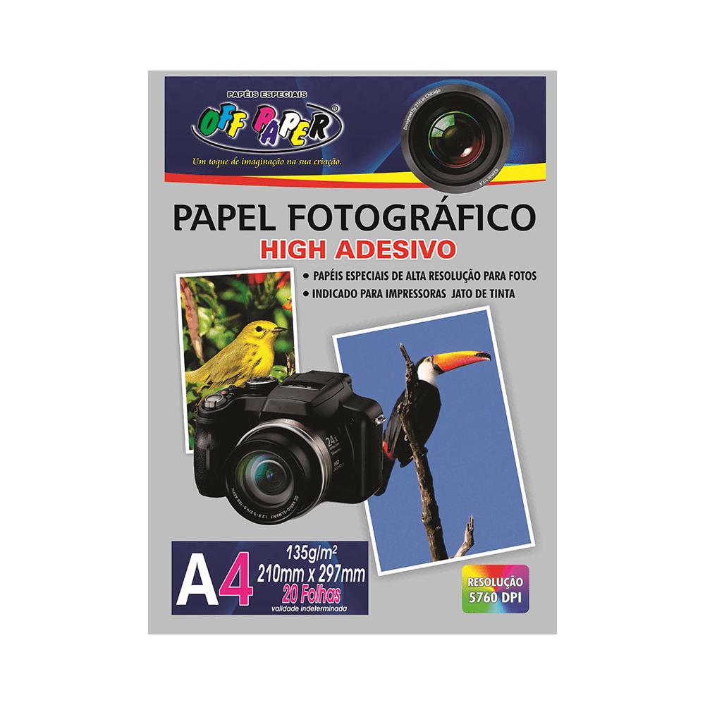 Papel Fotográfico High Adesivo A4 135g 20 Folhas Off Paper