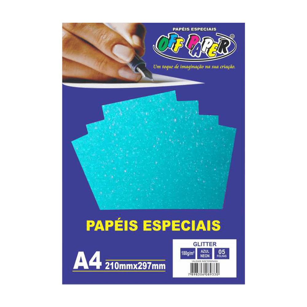 Papel Glitter A4 Azul Neon 180g 5 Folhas Off Paper