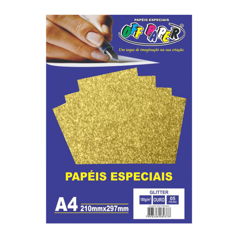 Papel Glitter A4 Ouro 180g 5 Folhas Off Paper