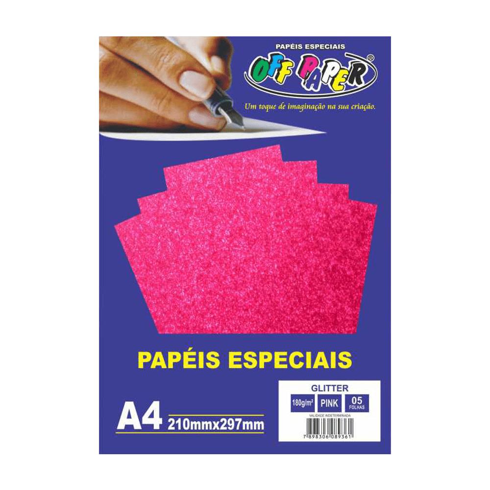 Papel Glitter A4 Pink 180g 5 Folhas Off Paper