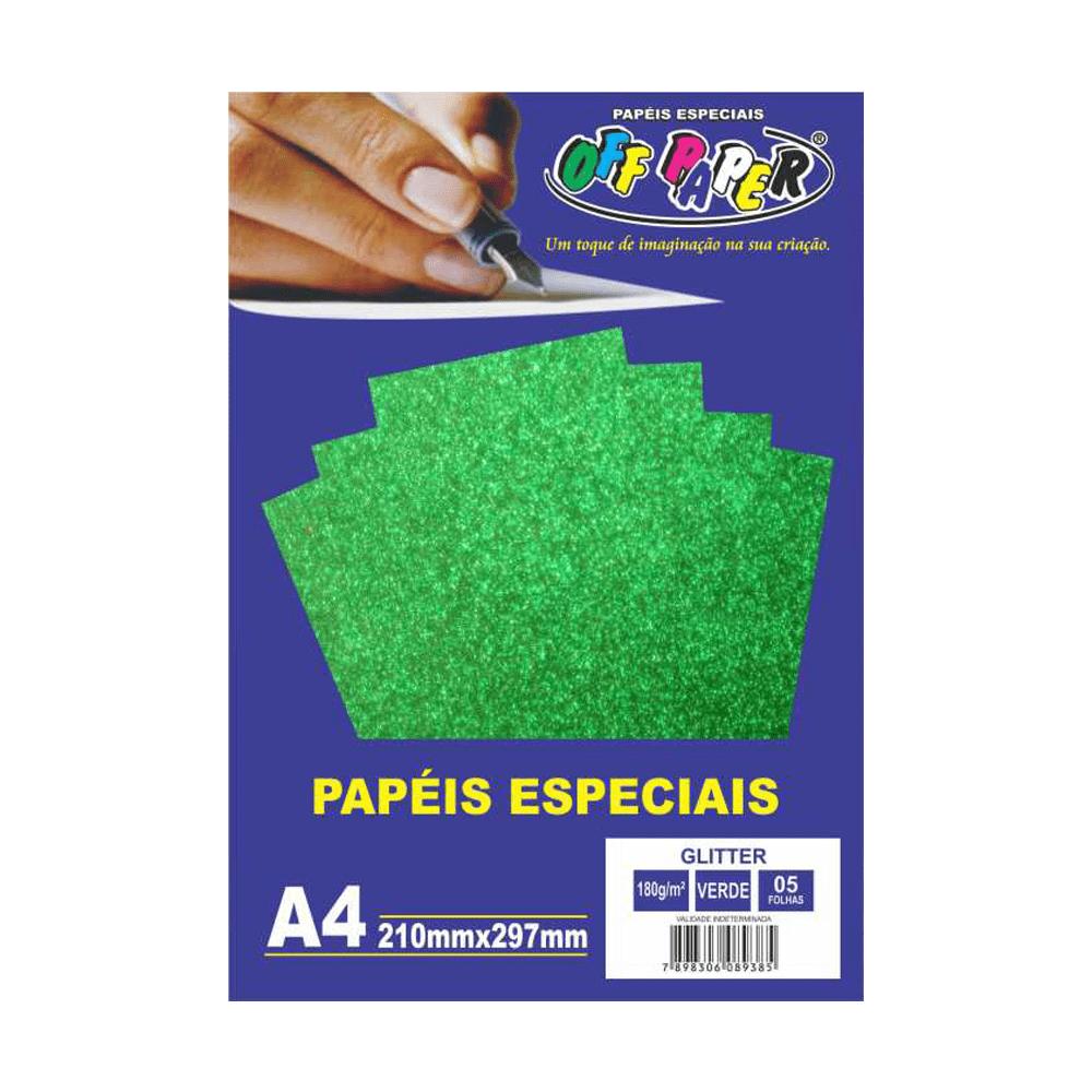 Papel Glitter A4 Verde 180g 5 Folhas Off Paper