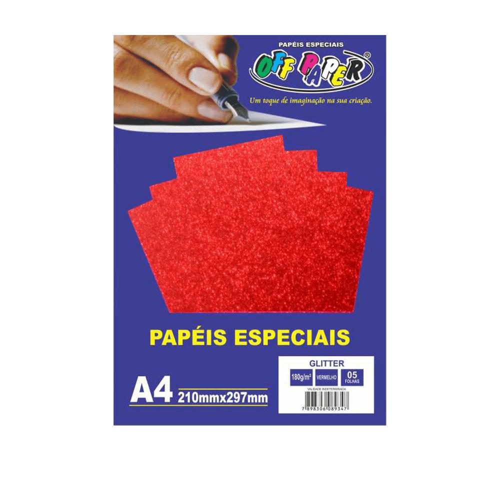 Papel Glitter A4 Vermelho 180g 5 Folhas Off Paper