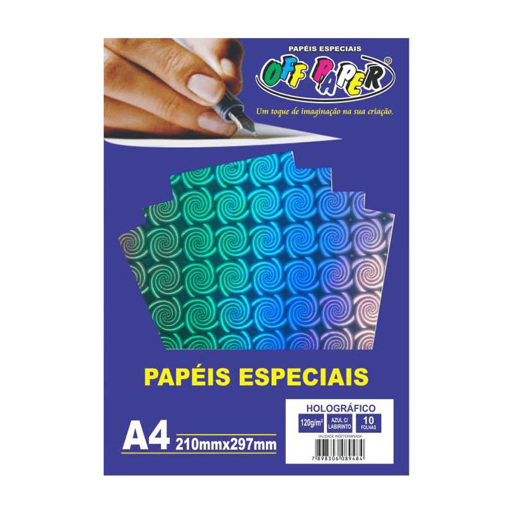 Papel Holográfico A4 Azul com Labirinto 120g 10 Folhas Off Paper