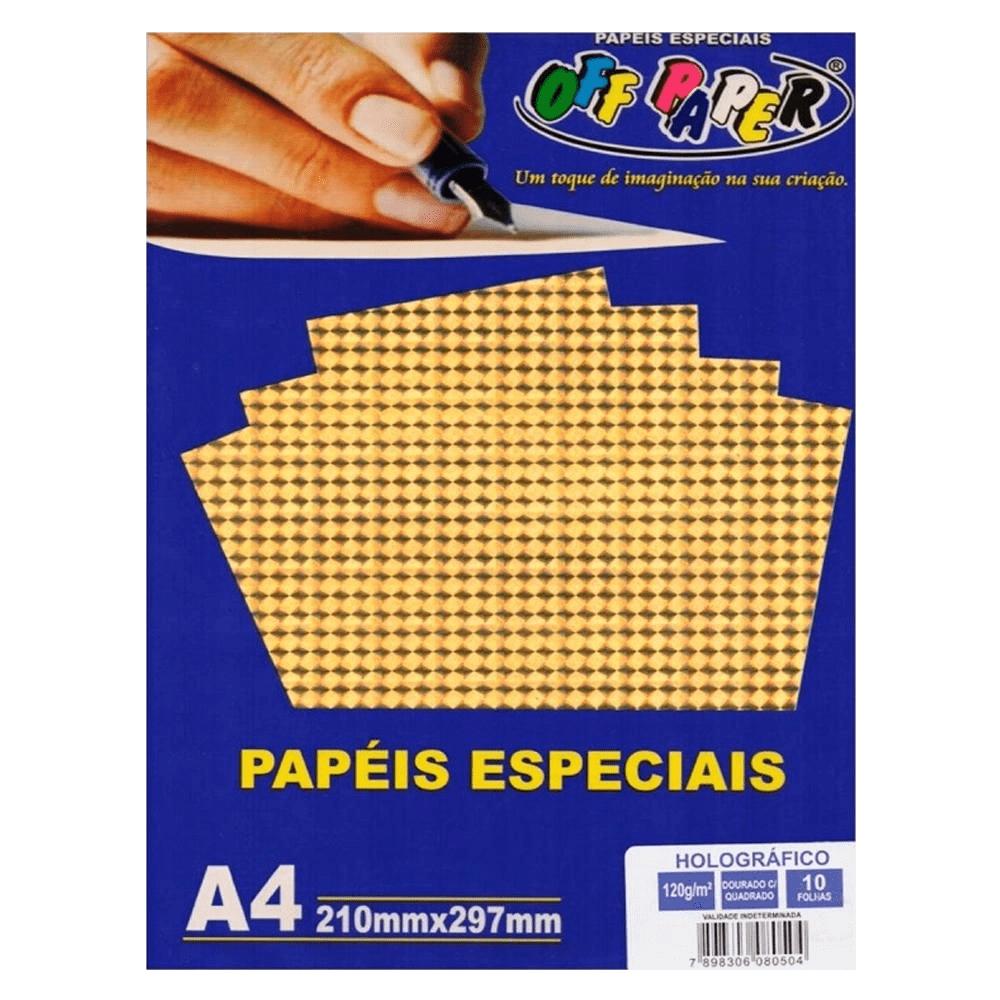 Papel Holográfico A4 Dourado com Quadrados 120g 10 Folhas Off Paper