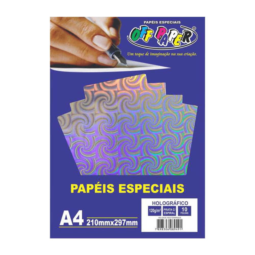 Papel Holográfico A4 Prata com Espirais 120g 10 Folhas Off Paper