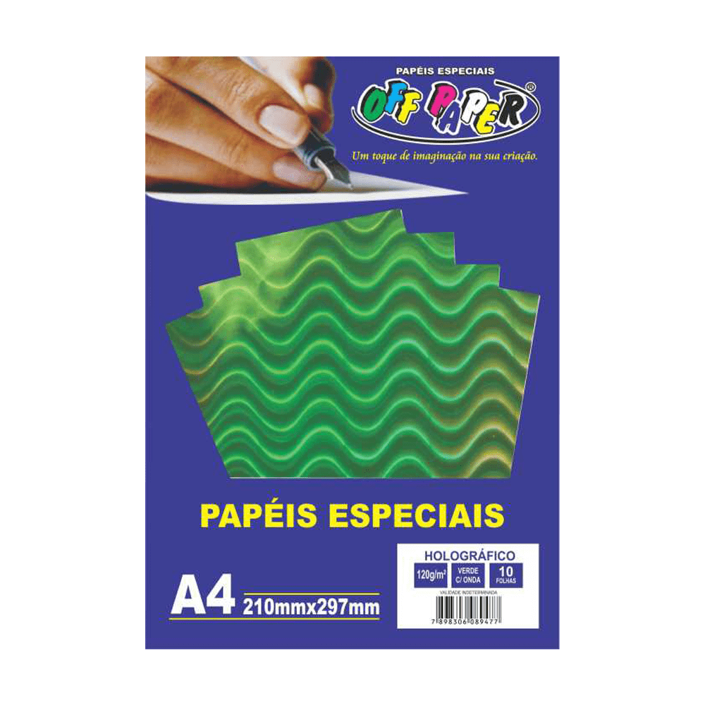 Papel Holográfico A4 Verde com Ondas 120g 10 Folhas Off Paper