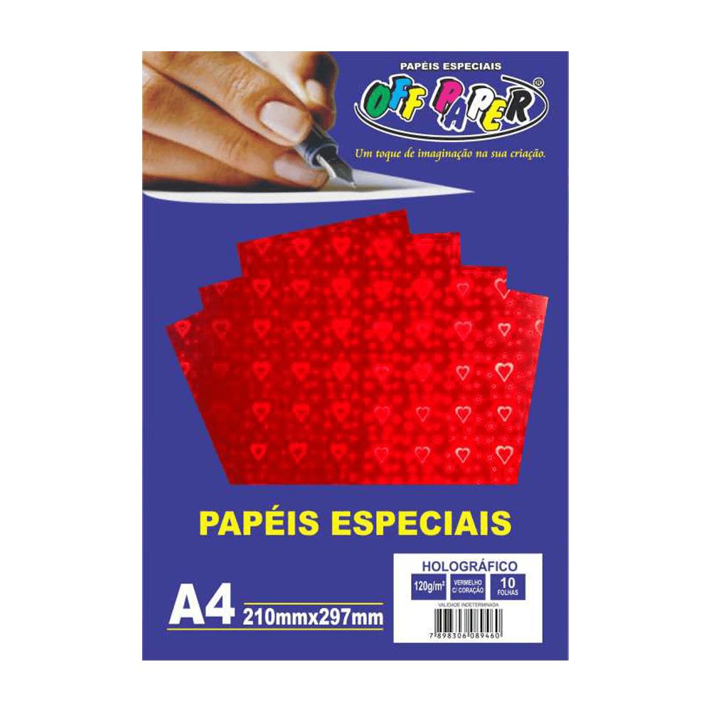 Papel Holográfico A4 Vermelho com Corações 120g 10 Folhas Off Paper