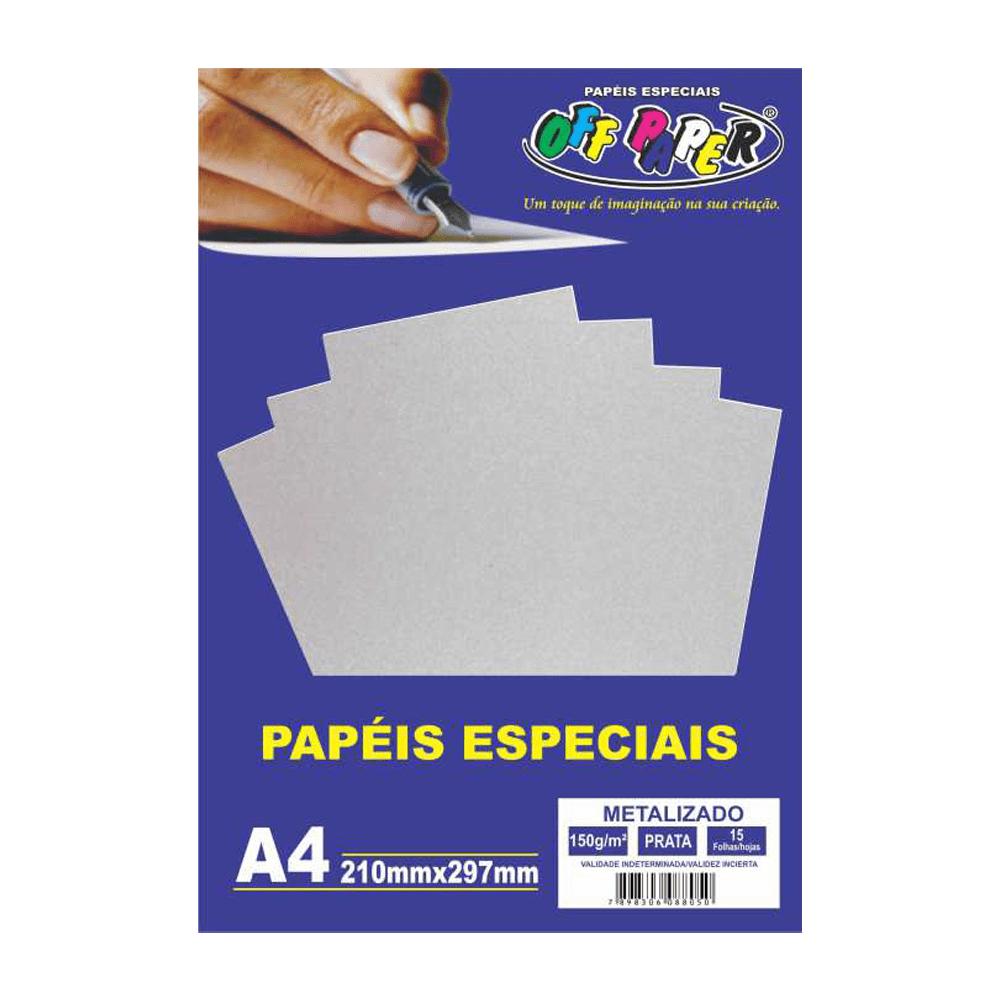 Papel Metalizado A4 Prata 150g 15 Folhas Off Paper