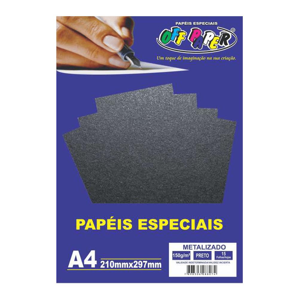 Papel Metalizado A4 Preto 150g 15 Folhas Off Paper