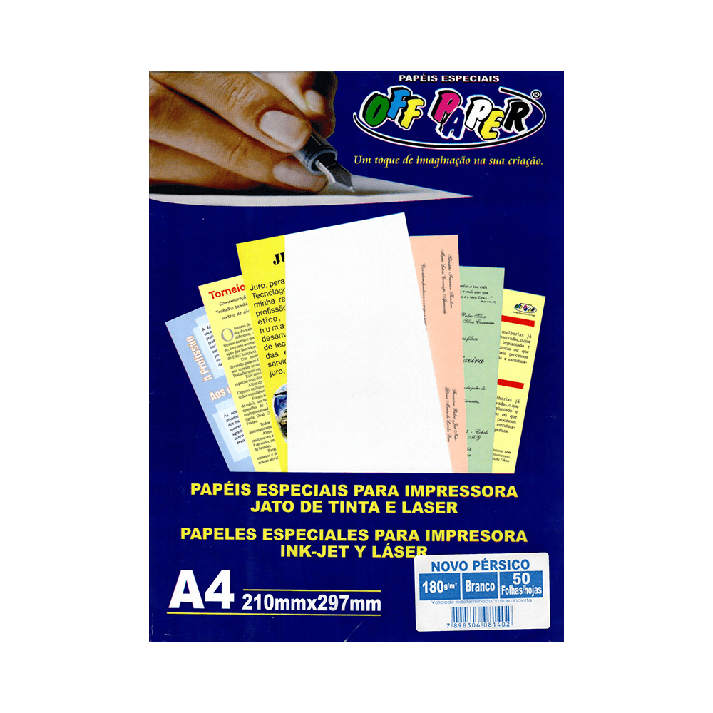 Papel Novo Pérsico A4 Branco 180g 50 Folhas Off Paper