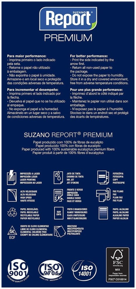 Papel Sulfite A3 Branco 75g 500 Folhas Premium Report