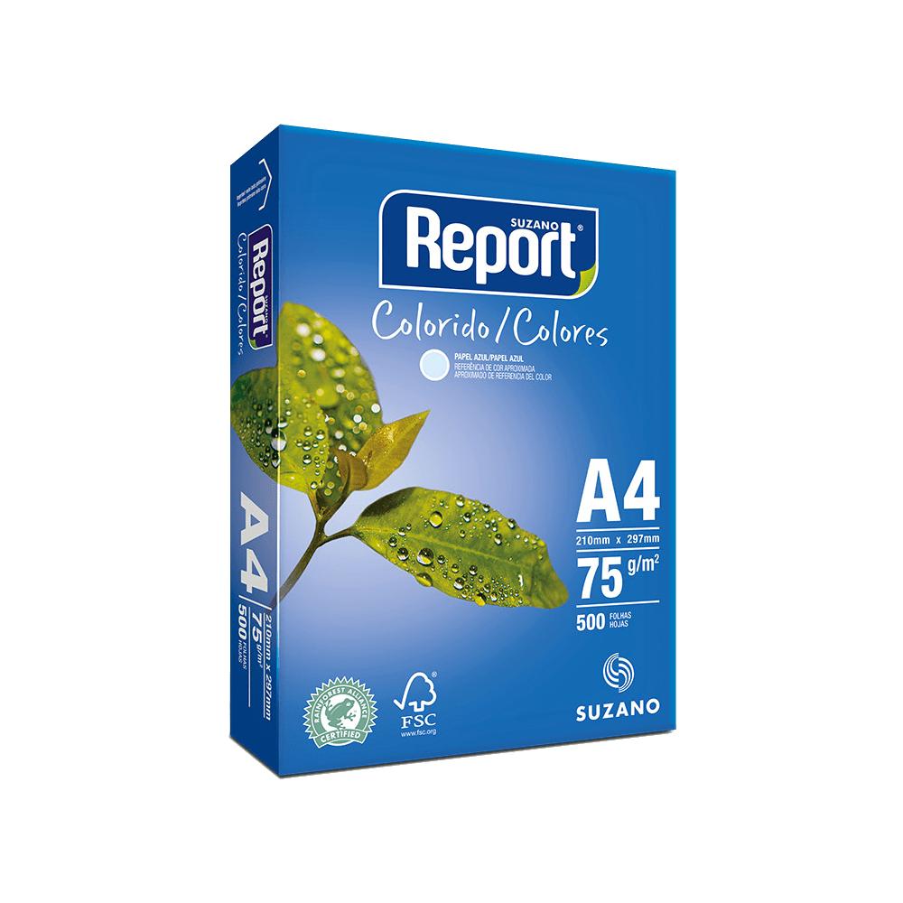 Papel Sulfite A4 Azul 75g 2500 folhas Report