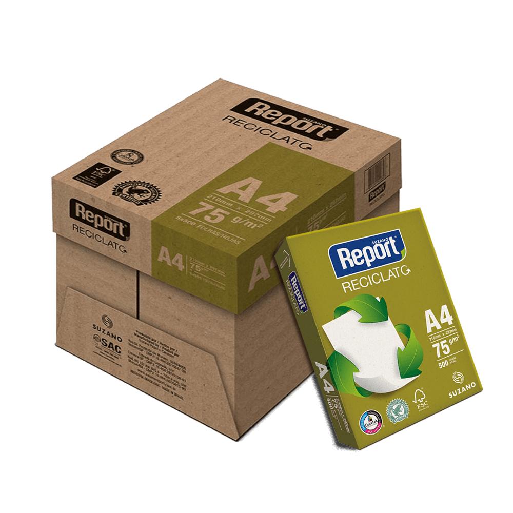 Papel Reciclado A4 75g 500 Folhas 5 Unidades Reciclato Report