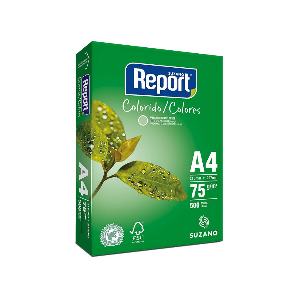 Papel Sulfite A4 Verde 75g 2500 folhas Report