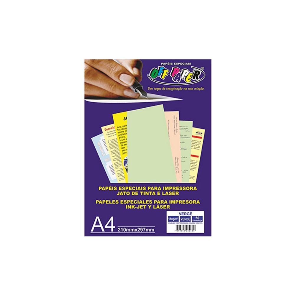 Papel Vergê A4 Verde 180g 50 Folhas Off Paper