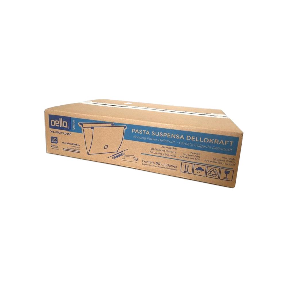 Pasta Suspensa Kraft com Haste Plástica 50 Unidades Dello