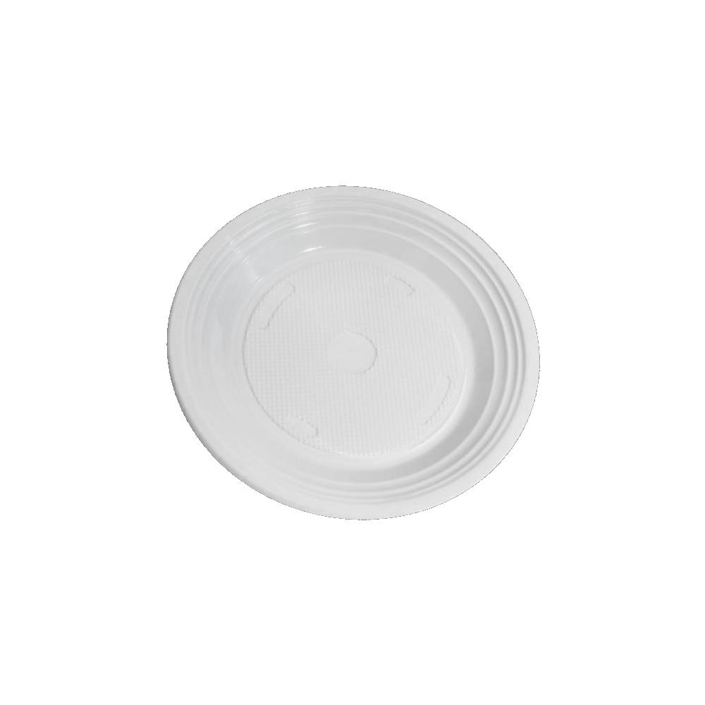100 Pacotes Prato Descartável PS 180mm Branco 10 Unidades Copozan