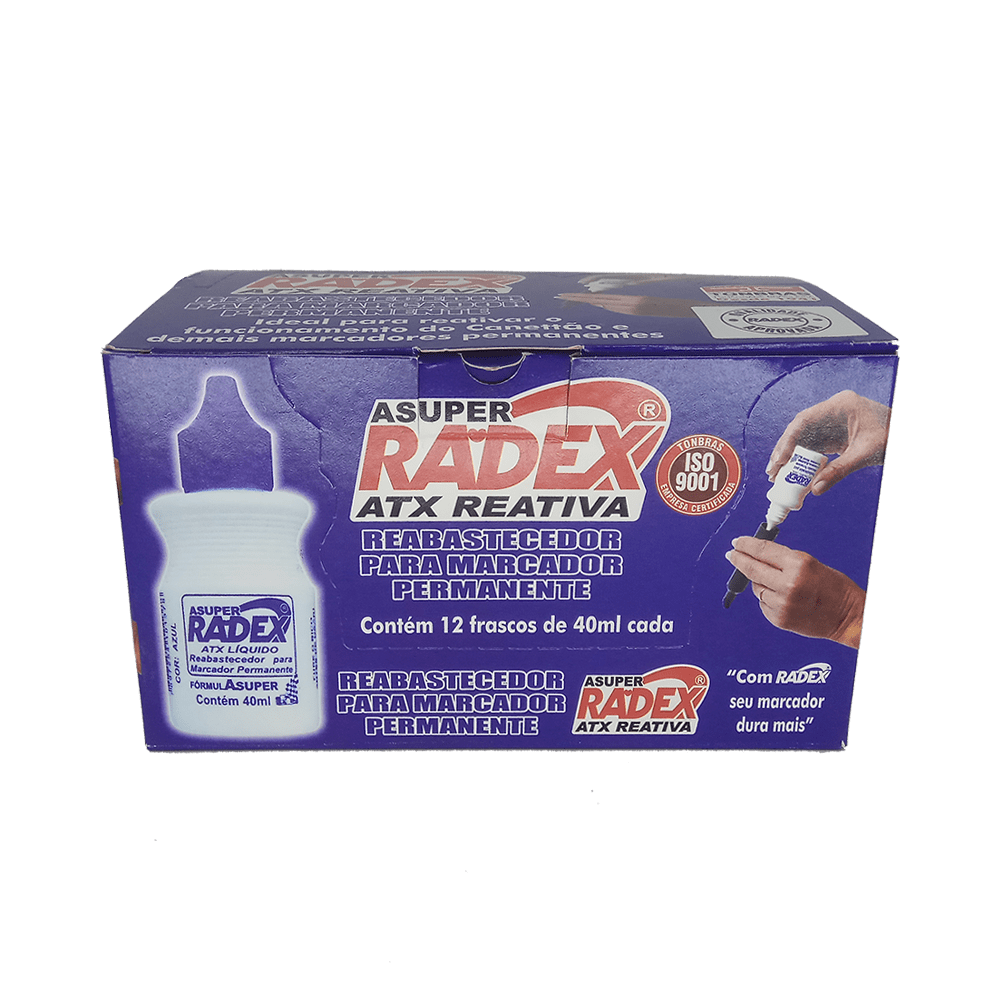 Refil p/ Marcador Permanente 40mL Azul Radex