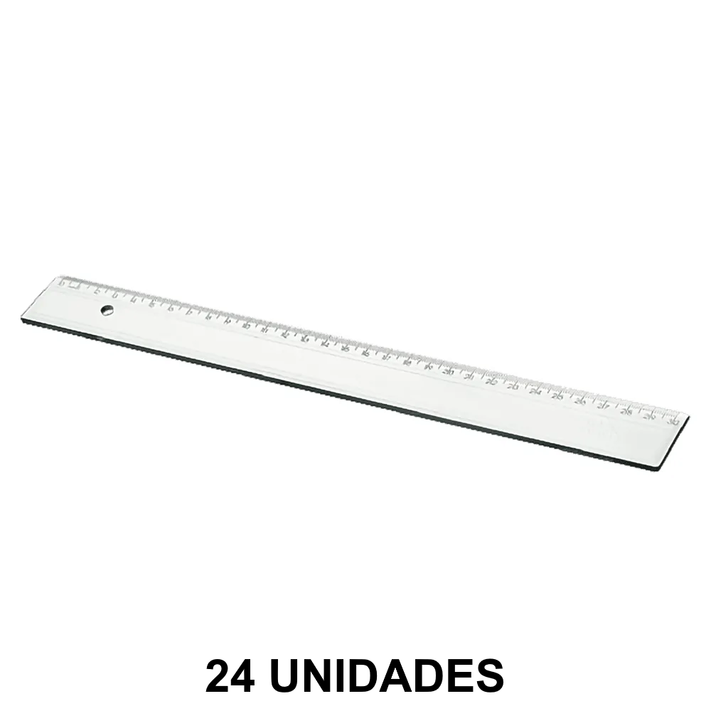Régua de Plástico 30cm Cristal 24 Unidades Acrimet