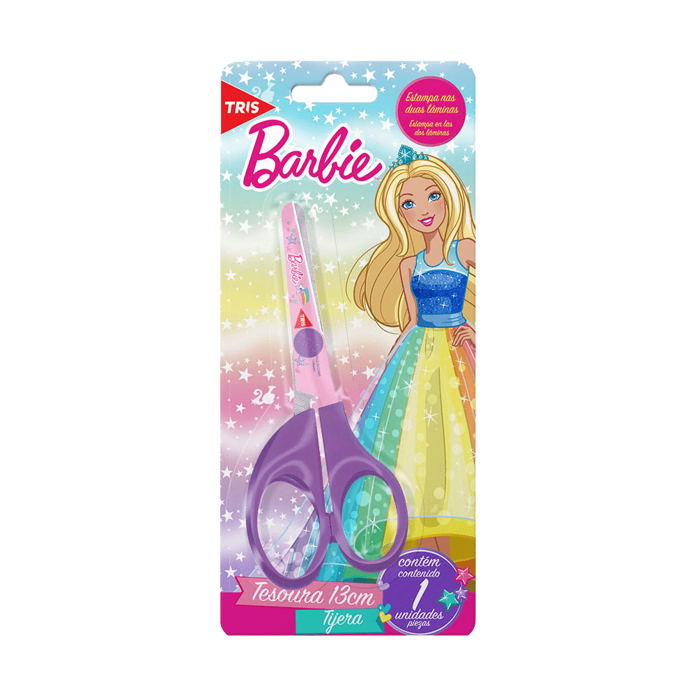 Tesoura Escolar 13cm Assimétrica Barbie Tris