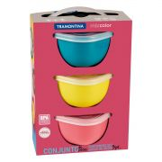 Conjunto de Potes Tramontina Mixcolor em Polipropileno com Tampa 3 Peças 25099/979 | Lojas Estrela