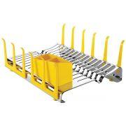 Escorredor de Louça Tramontina em Aço Inox com Secador de Copos e Porta Talheres Amarelo 61535/580 | Lojas Estrela