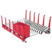 Escorredor de Louça Tramontina em Aço Inox com Secador de Copos e Porta Talheres Vermelho 61535/560 | Lojas Estrela