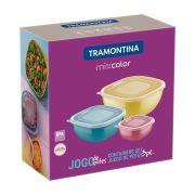 Jogo de Potes Tramontina Mixcolor em Polipropileno com Tampa 3 Peças 25099/980 | Lojas Estrela