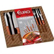 Kit Euro de Talheres de Churrasco 15 Peças