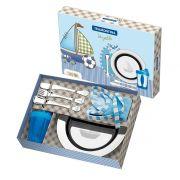 Kit Infantil Tramontina para Refeição Azul em Aço Inox 6 Peças 64250/640 | Lojas Estrela